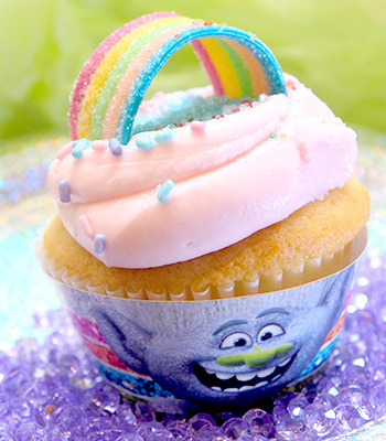 Tasty Trolls the Experience decorated cupcake